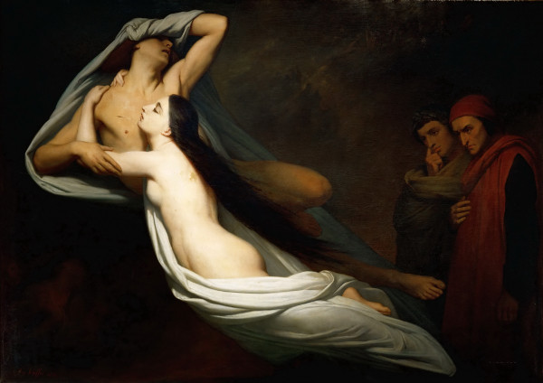 Ary Scheffer - Dante and Virgil Encountering the Shades of Francesca de Rimini and Paolo in the Underworld (Quelle: Wikimedia Commons)